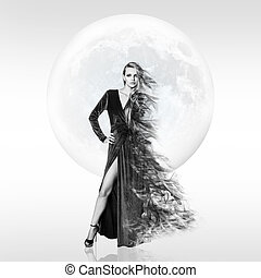 donna, sopra, giovane, luna, fondo., pieno, elegante