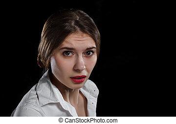 donna, sopra, isolato, giovane, sfondo nero, casuale