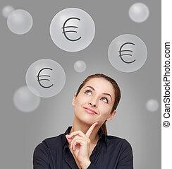 donna, sopra, pensare, su, grigio, dall'aspetto, fondo, segni, felice, euro