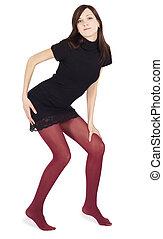 donna, sopra, proposta, fondo, calze, bianco, bello, rosso