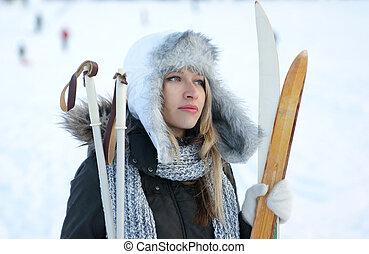 donna, sopra, sci, fondo, inverno
