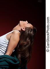 donna, sopra, sofisticato, proposta, fondo, rosso