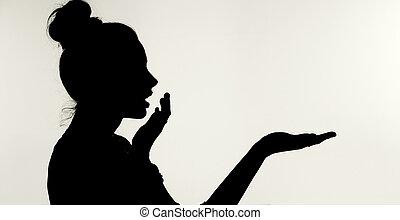 donna, sorpreso, silhouetthe