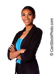 donna sorridente, affari, felice