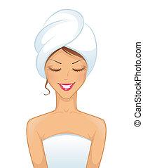 donna sorridente, asciugamano, giovane