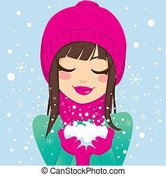 donna sorridente, con, neve