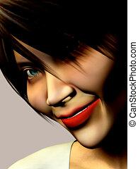 donna sorridente, faccia