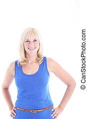 donna sorridente, in, vestito blu