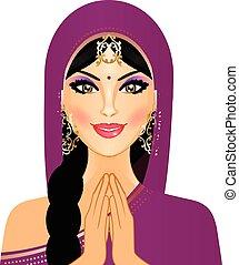 donna sorridente, indiano