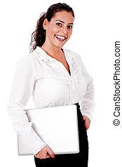 donna sorridente, laptop, affari