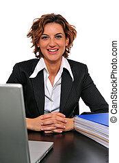donna sorridente, lei, affari, scrivania