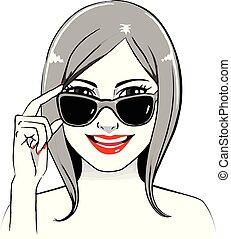 donna sorridente, occhiali da sole