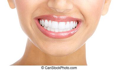 donna, sorriso, e, denti