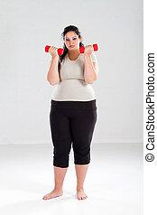 donna, sovrappeso, esercizio
