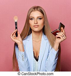 donna, spazzola, specchio trucco