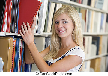 donna, spento, mensola, biblioteca, field), tirare, (depth, libro