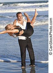 donna, spiaggia, coppia, divertimento, uomo, romantico