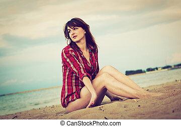 donna, spiaggia, giovane, rilassante, moda