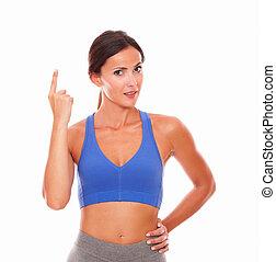 donna, sportivo, indicare, giovane, su, dall'aspetto