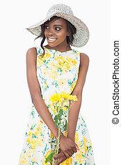 donna stando piedi, il portare, uno, vestito floreale