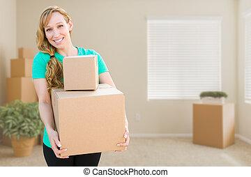 donna, stanza, house., giovane, scatole, spostamento, adulto, presa a terra, nuovo, vuoto, felice
