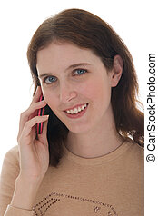 donna, su, cellphone, 2