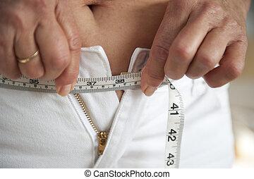 donna, su, dieta, a, sciolto, peso