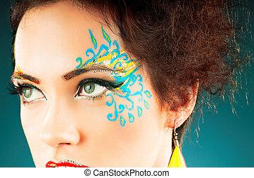 donna, su, fare, elegante, attraente
