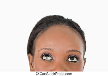 donna, su, fronte, fondo, chiudere, bianco