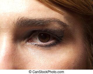 donna, su, macro., chiudere, immagine, occhio, eye.
