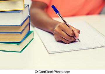 donna, su, mano, quaderno, africano, chiudere, scrittura