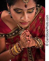 donna, su, preghiera, chiudere, indiano