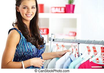 donna, su, vendita