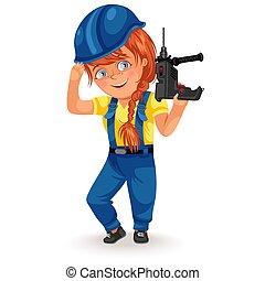 donna, suo, femmina, lavorativo, professioni, costruttore, lavoratore duro, cacciavite, illustrazione, uniforme, vettore, forte, braccia, trapano, femministe, non, ragazza,