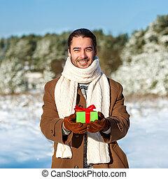 donna, suo, inverno, regalo, attesa, romano, legnhe, uomo