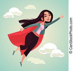 donna super, carattere, flying., vettore, appartamento,...