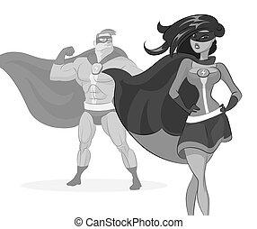 donna super, eroe, coppia., uomo