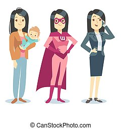 donna super, in, superhero, costume, mamma, con, bambino, donna d'affari, equilibratura, vettore, concetto