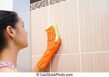 donna, superficie, pavimentato, bathroom., rondella, pulizia