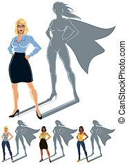 donna, superhero, concetto