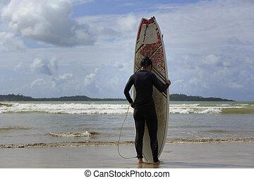 donna, surfboard, stanco, giovane, surfer, spiaggia bianca, vista posteriore