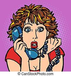 donna, surprised., conversazione, umano, emotions., telefono