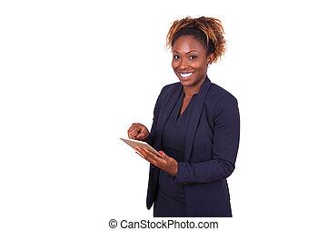 donna, tavoletta, affari, americano, computer, africano, usando, tattile
