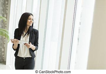 donna, tavoletta, ufficio, giovane