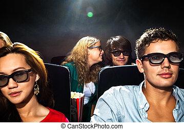 donna, teatro, cinema, boyfriend's, sussurrio, orecchio