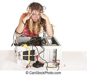 donna, tecnologia, biondo, perso