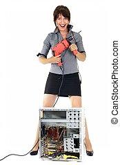 donna, tecnologia, exterminator