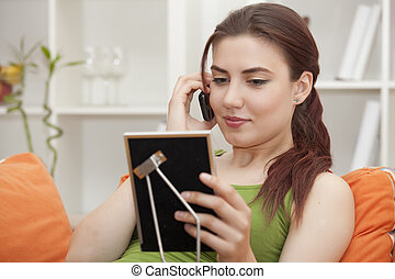 donna telefono, e, cornice