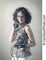 donna telefono, parlante