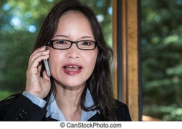 donna telefono, parlante, completo
